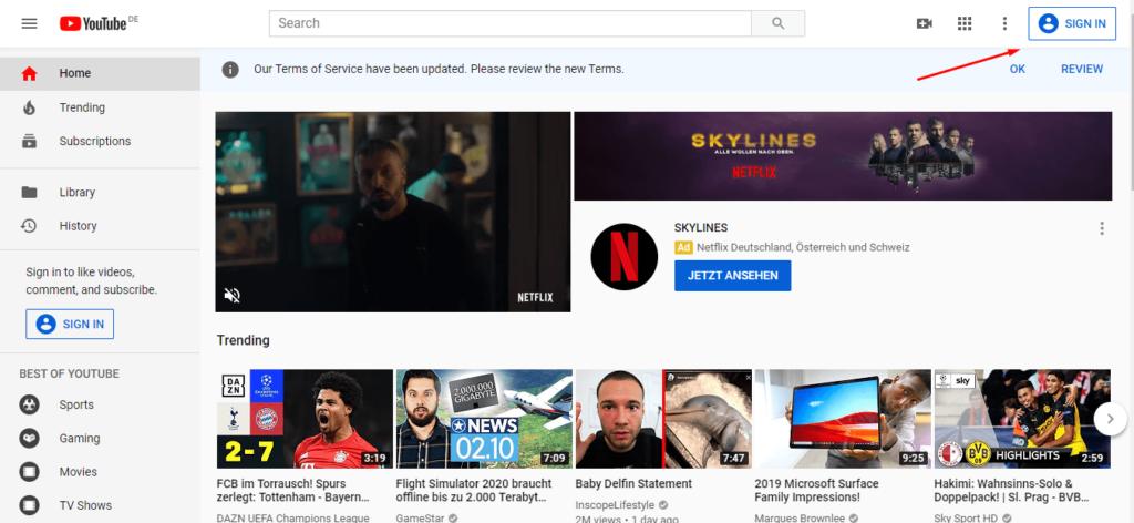 ورود به سایت یوتیوب