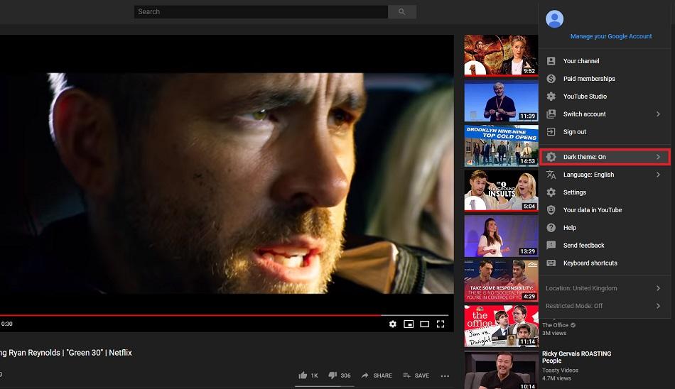 حالت شب در یوتیوب